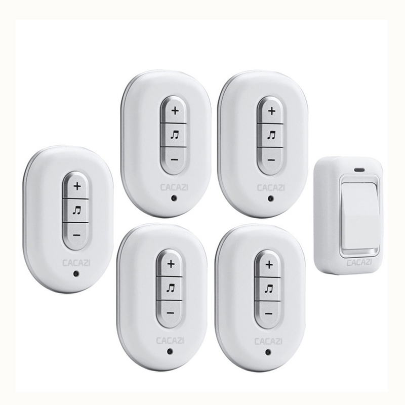 CACAZI Wireless DoorBell No Battery Need Waterproof smart Door Bell Cordless 120M Remote AC 110V-220V 1 transmitter 5 Receivers kinetic cordless smart home doorbell 2 button and 1 chime battery free button waterproof eu us uk wireless door bell