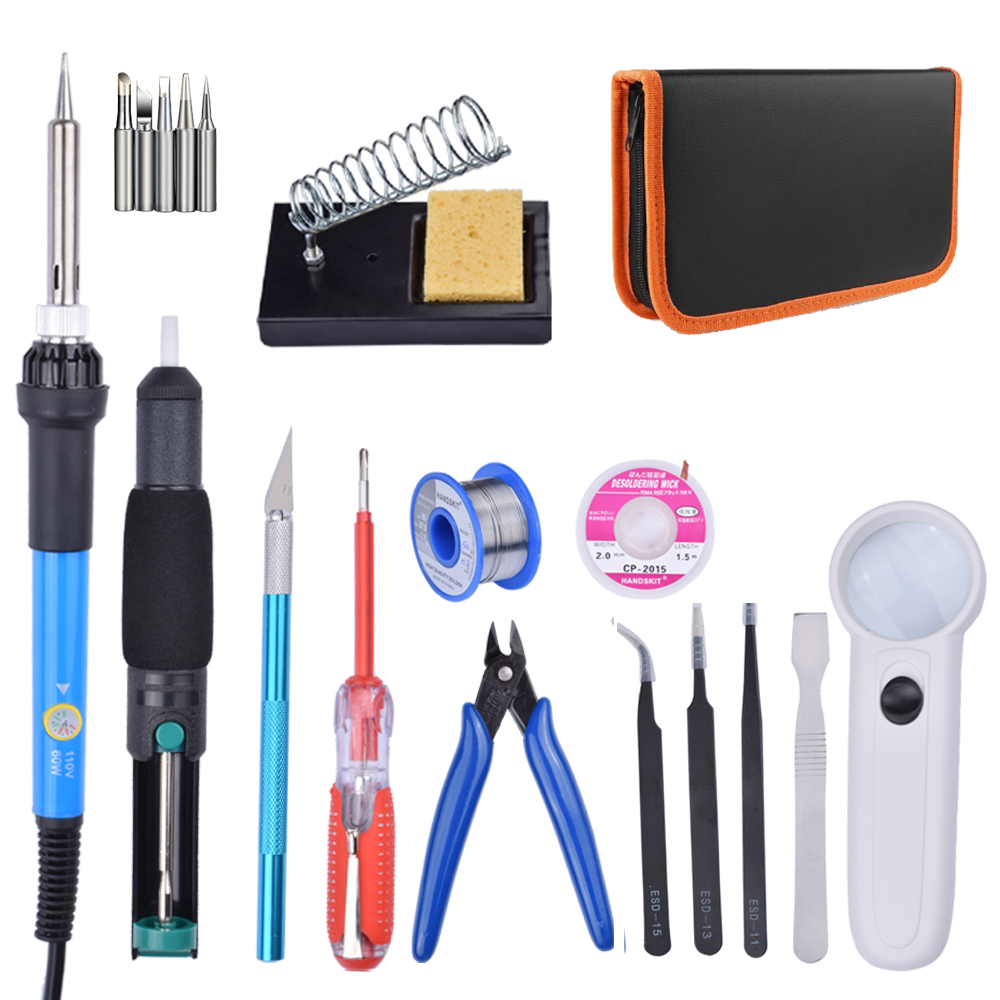 EU US Plug 220V 110V 60W Adjustable Temperature Electric Soldering Iron Kit Welding Repair Tool Tweezers Solder Wire 220v electronics temperature adjustable soldering iron 6pcs different size repair tweezers 10pcs solder iron tip 900m t series