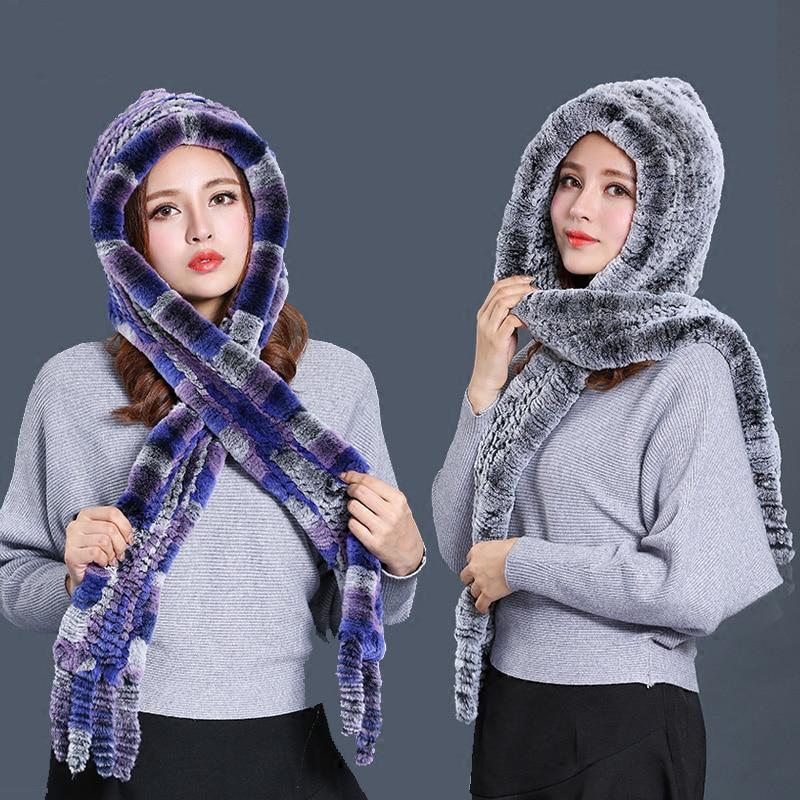 [Rancyword] bufandas de Invierno para mujer, nueva bufanda de piel de lujo, gorro de piel de conejo Real para mujer bufanda con capucha RC1356 - 2