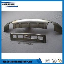Ze stali nierdzewnej przednie i tylne Protector srebrny Protector płyta tablicy rejestracyjnej samochodu Bar osłonka na zderzak dla AUDI Q5 2013 + 13