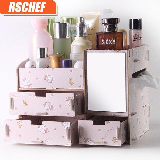 RSCHEF Wooden cosmetics storage box with mirror dressing box storage rack makeup organizer organizador de maquillaje & RSCHEF Wooden cosmetics storage box with mirror dressing box storage ...