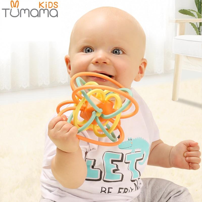 Tumama 0-12 Meses Mordedor Bola Brinquedo Do Bebê Recém-nascido Chocalhos de Brinquedo Música Earily Grasping Educacional Brinquedo Sino de Mão de Plástico chocalho Bola