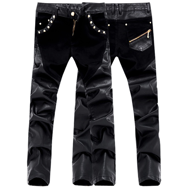 High Quality Fashion Designer Patchwork Leather Pants Men Skinny Casual Men Trousers