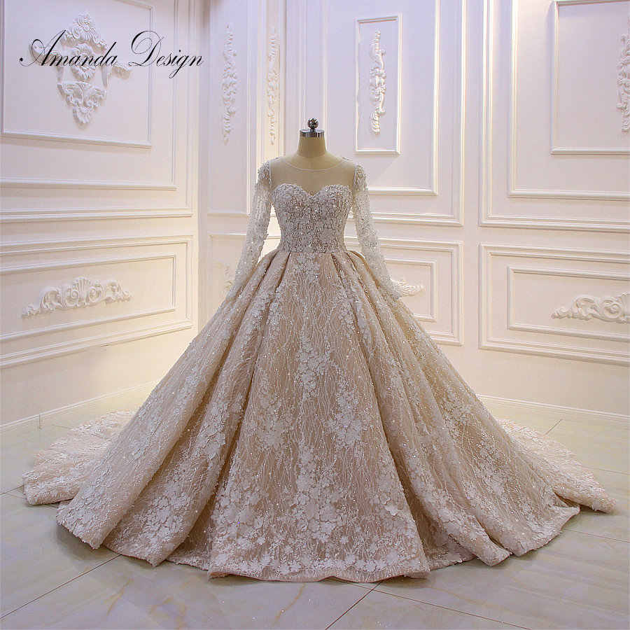 Amanda Design Wedding Dress Long Sleeves Lace Applique 3D flowers Champagne Luxury Wedding Dress