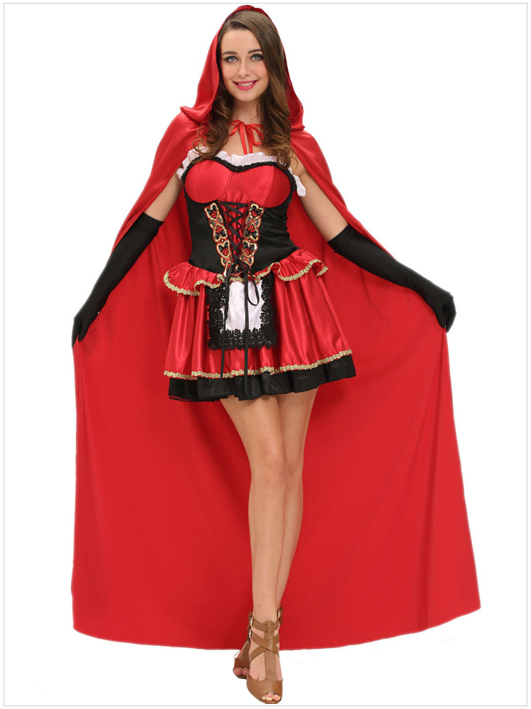 Ensen little red riding hood costume sexy cosplay red glitter sequins role playing dress helloween costumes for women S,M,L