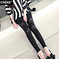 2015 Spring And Autumn Personality Triangle Lace Leather Women Leggings Show Thin Render Feet Legging Women Free Shipping H8901