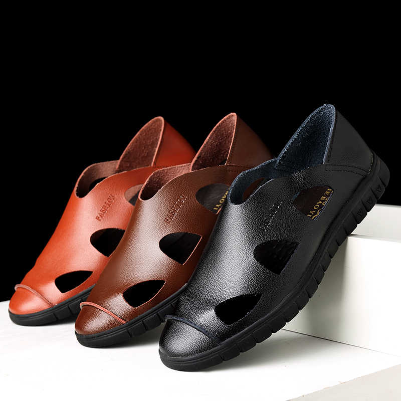 2019 รองเท้าแตะชายฤดูร้อนคุณภาพสูงยี่ห้อรองเท้าชายหาดรองเท้าแตะชายรองเท้าหนังแฟชั่นรองเท้ากลางแจ้ง