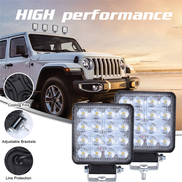 2x LED مصابيح للسيارات LED ضوء العمل القرون 4 بوصة 160 واط مربع بقعة شعاع الطرق الوعرة عمود إنارة للقيادة Luces Led الفقرة السيارات