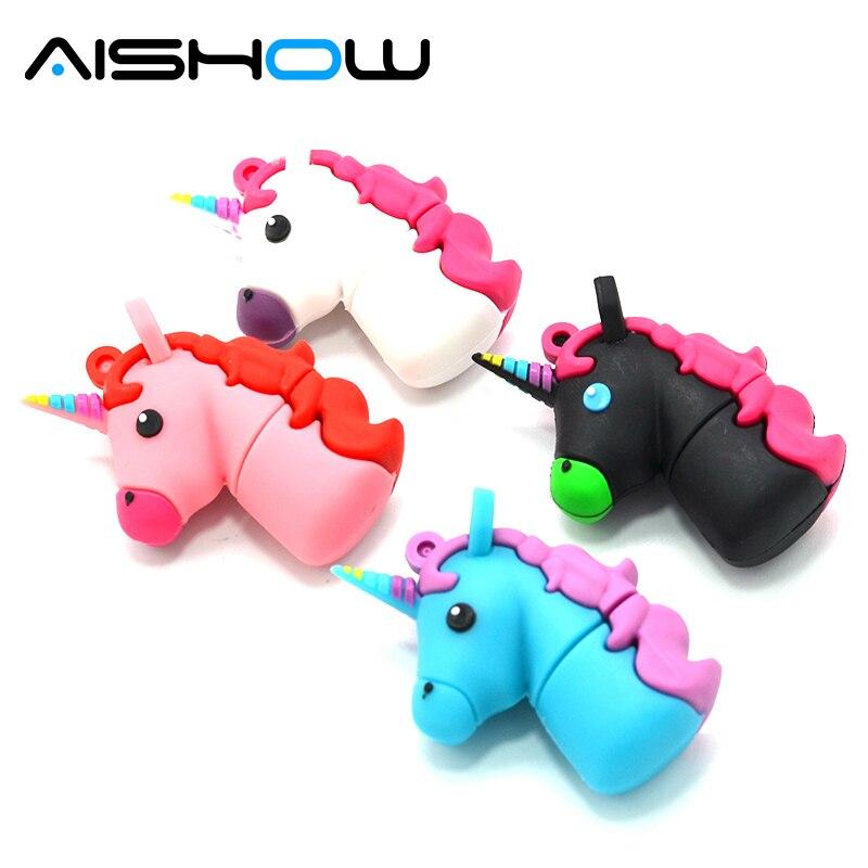 New style Cartoon white Unicorn style flash drive real capacity cute horse 1GB 4G 8G 16G 32G flash memory drive Usb stick