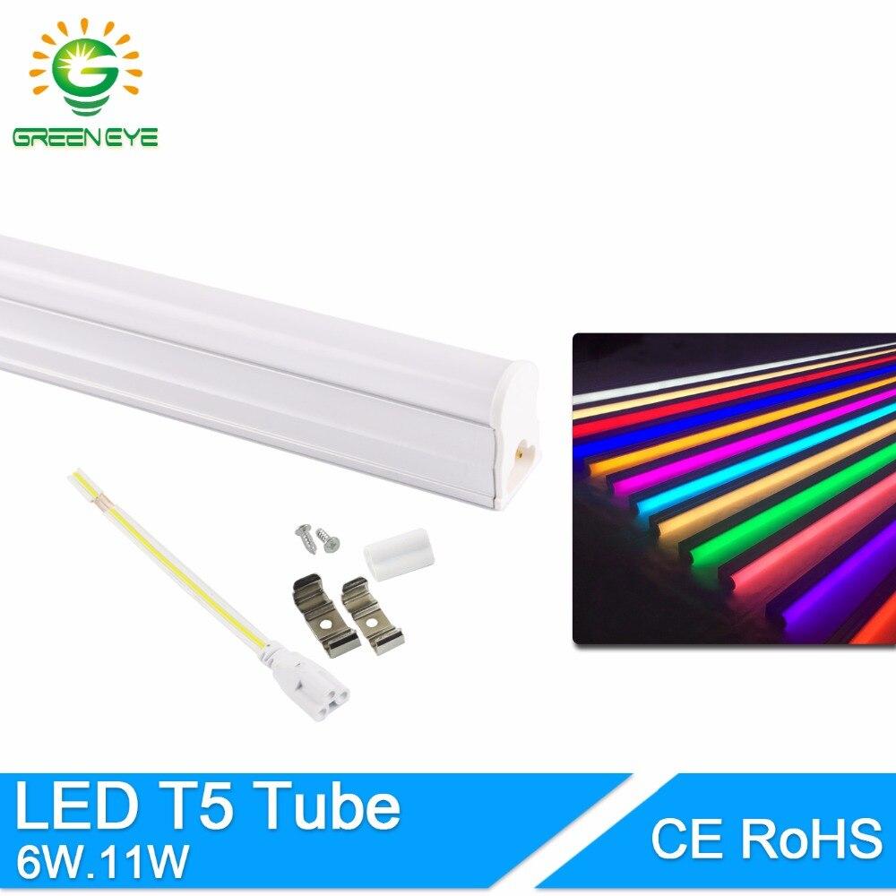GreenEye 11W 6W LED T5 Tube Light 220V 60cm 30cm T5 Lamp Led Wall Lamp Warm Cold White Red Green Blue Led Fluorescent Light T5