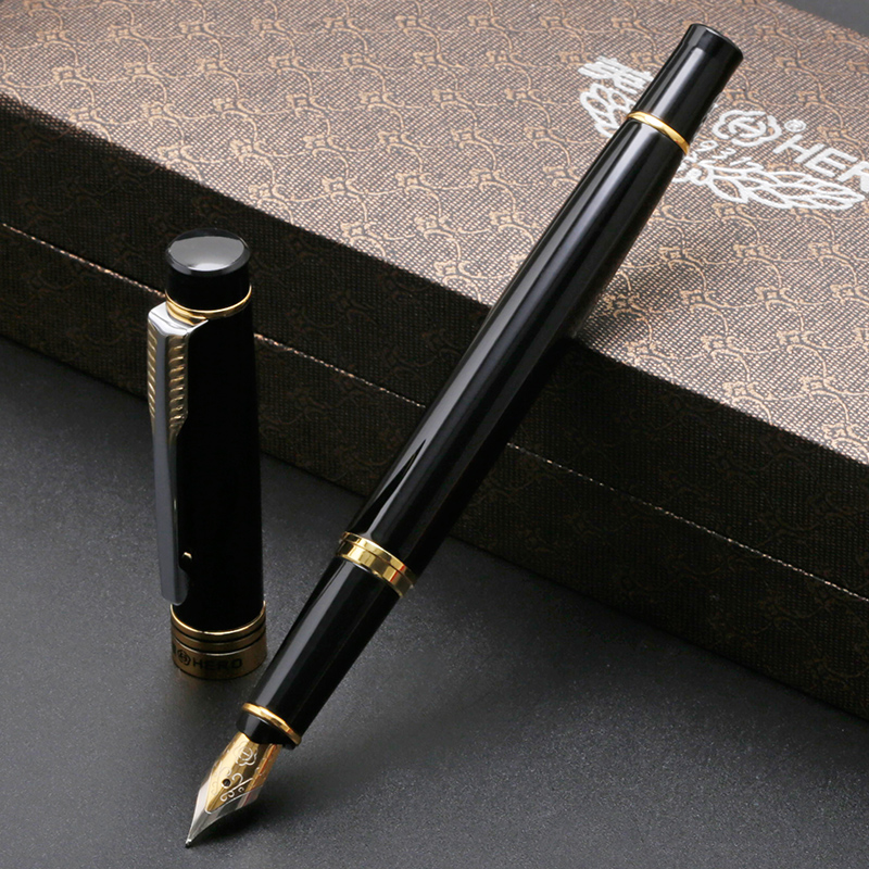 Classic Gold Clip Black Fountain Pen Hero Metal Business Office Gift Pens Iridium Nib F 0.5mm Writing Pen with A Gift Box dikawen 891 gray gold dragon clip 0 7mm nib office stationery metal roller ball pen pencil box cufflinks for mens luxury