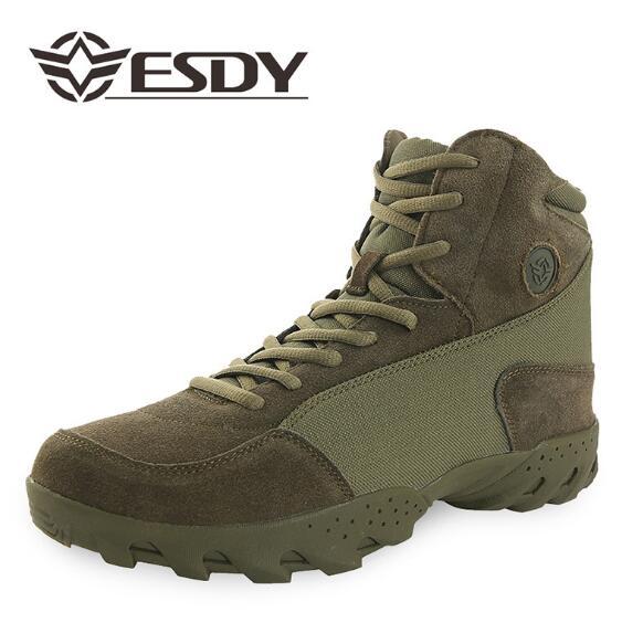 ESDY militaire bottes hommes en cuir véritable imperméable armée chaussures randonnée Trekking baskets Krossovky hommes en caoutchouc bottes chaussures de plein air