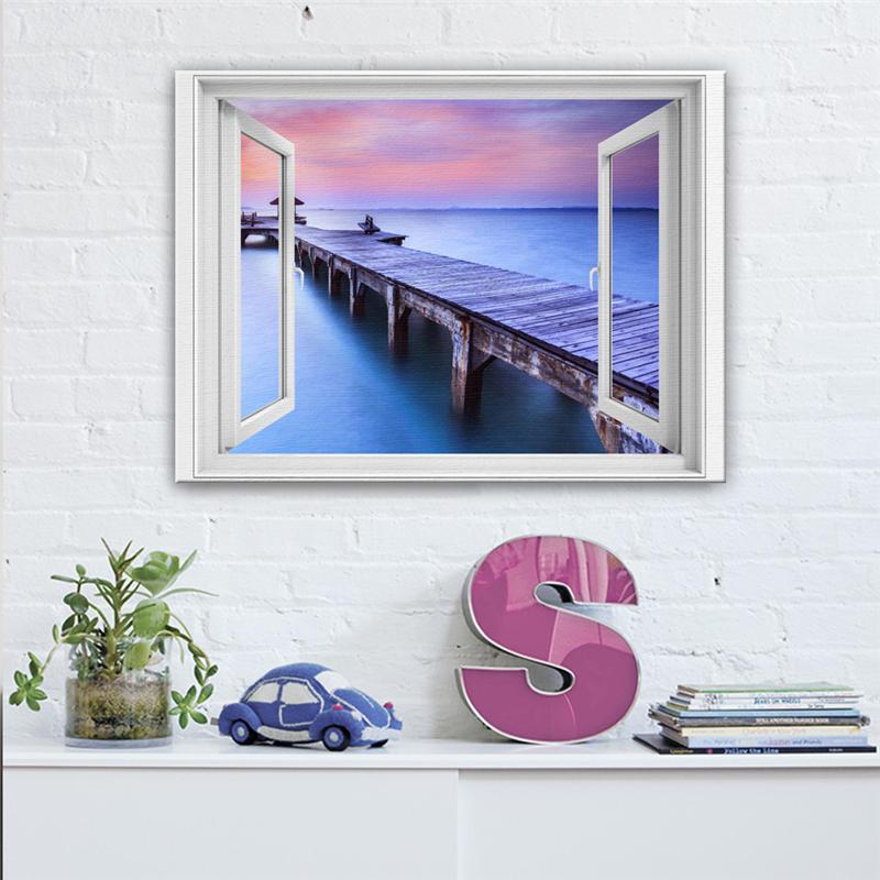Декоративная картина закат Pier узор поддельные окна Дизайн встроенный каркас дома настенный Декор Аксессуары печати холст картина