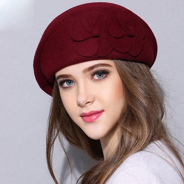 7ce080e8f8e05c wool beret winter berets women winter felt beret Floral Women Felt French  Beret Beanie fedora hat Beanie Winter Flower