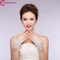 Short Paragraph Mitts The Bride Wedding Dress Gloves Luxury Diamond Lace Gloves Fingerless Flowers Gloves Wedding