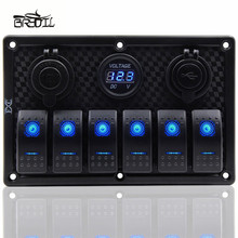 12V 24V Waterproof 6 Gang Blue LED Rocker Switch Panel Circuit Breaker Dual USB Port Toggle Control Switch RV Car Boat Marine