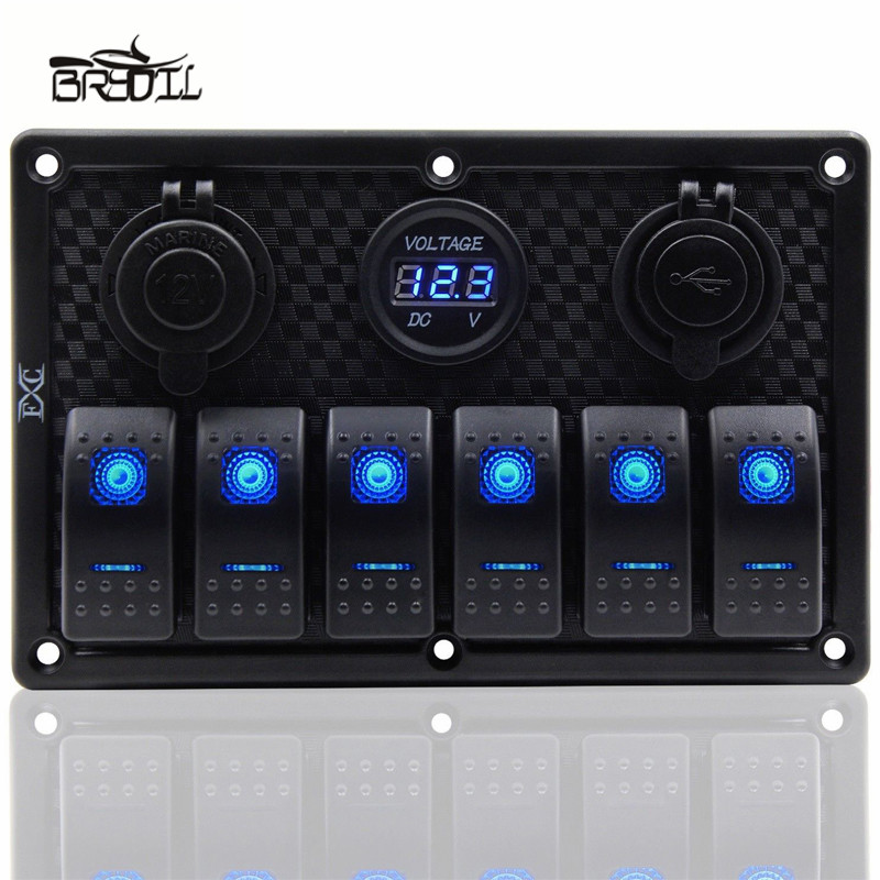 Image 1 - 12V 24V Waterproof 6 Gang Blue LED Rocker Switch Panel Toggle Circuit Breaker Dual USB Toggle Control Switch RV Car Boat Marine-in Car Switches & Relays from Automobiles & Motorcycles