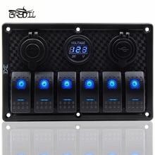 12V 24V Waterproof 6 Gang Blue LED Rocker Switch Panel Toggle Circuit Breaker Dual USB Control RV Car Boat Marine