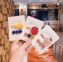 2pcs New Korean style Sweet fruit Acetate Hairpins Cute Headband Hair Clip Barrettes Women Girls Fashion Accessories J95