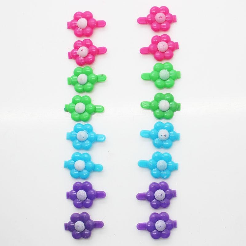 16Pcs/ Set Mini Hair Clips Girl's Cute Flower Shape Plastic Hair Clips Fashion Floral Hair Pins Hair Accessories