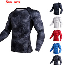 Mens 3D Stereo Printing Fitness Running Training Long Sleeves Amazon Tight Elastic Wicking Quick-drying Clothes