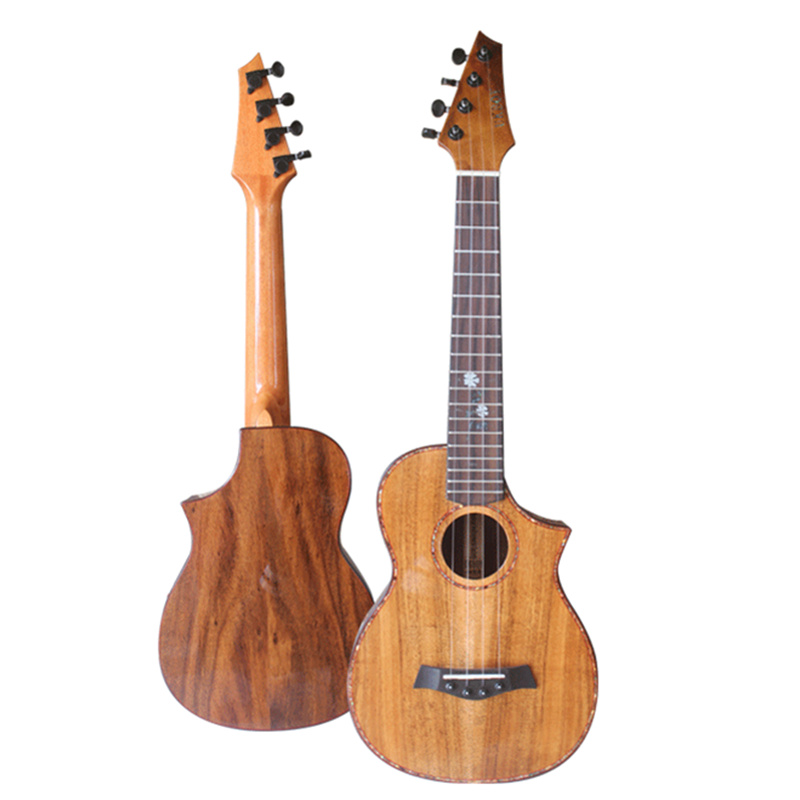 Professional High-end 26 inch Tenor Ukulele All Solid Acacia Wood KOA Ukelele 4 strings Acoustic guitar Missing angle design 12mm waterproof soprano concert ukulele bag case backpack 23 24 26 inch ukelele beige mini guitar accessories gig pu leather