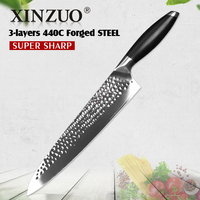 XINZUO 10'' Chef Kitchen Knife High Carbon 3 Layer 440C Core Clad Steel Vegetable Santoku Knife Stainless Steel with G10 Handle