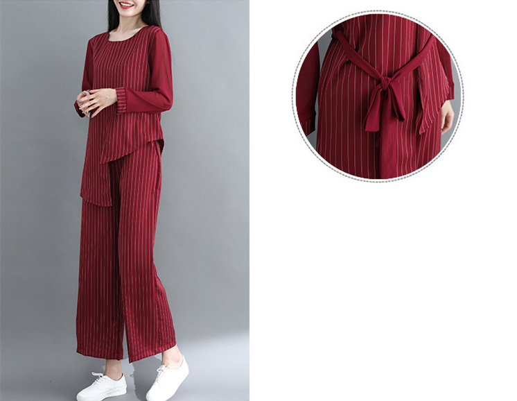 Striped Two Piece Sets Women Long Sleeve Blouses With Belt And Wide Leg Pants Suits Spring Autumn Casual Elegant Ol Style Sets 34