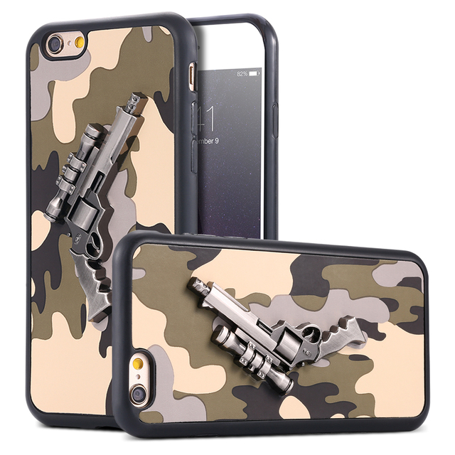 huge discount 07c56 52757 US $6.78 |Shell Case Art Print 3D Camouflage Pistol Sniper Army For Apple  iPhone 6 6S Cool Ultra Thin Metal Gun Soft Hybrid Back Cover on ...