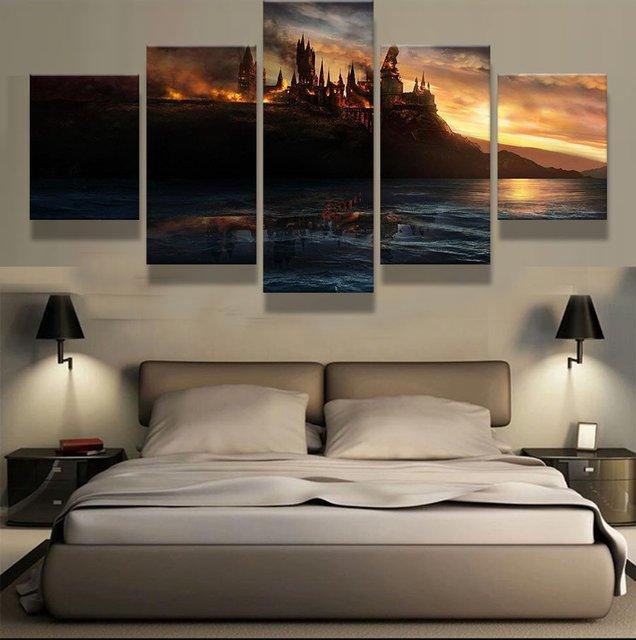 5 Painel Modern Home Decor Poster Harry Potter Castelo Cuadros Pintura De  Paisagem Canvas Wall Art