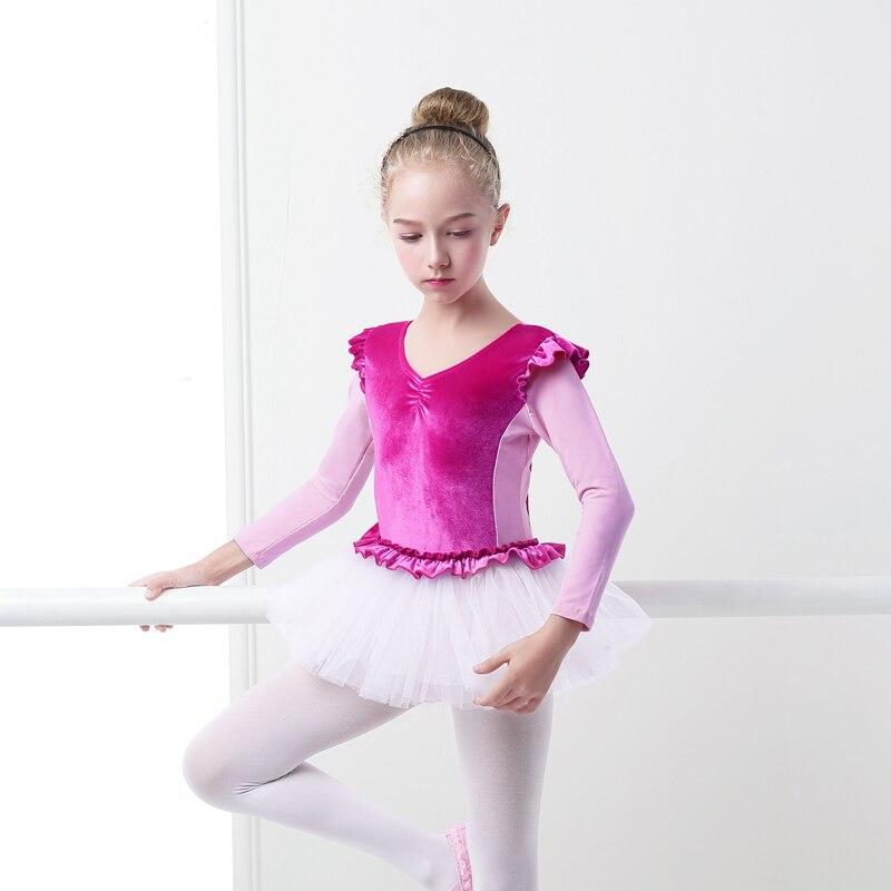 Pink Velvet Professional Swan Lake Ballet Costume Kids Splice Winter Ballet Dress Girl Ballet Dance Dress Ballerina Dancewear