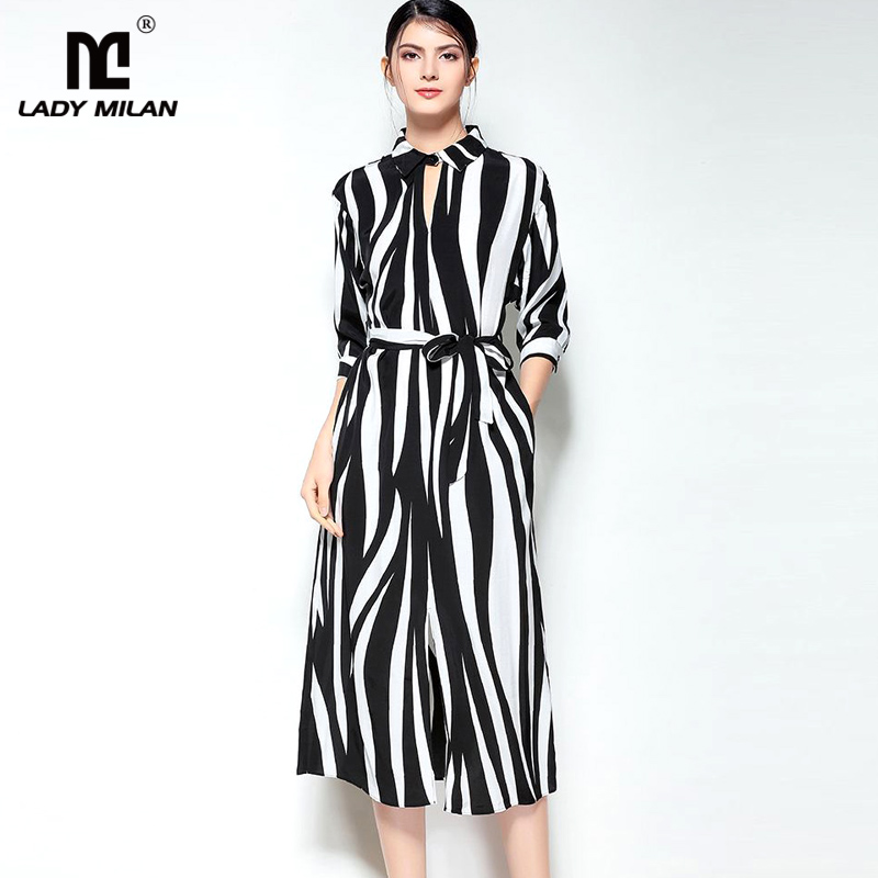 Lady Milan 2018 Womens Turn Down Collar 3/4 Sleeves Striped Sexy Keyhole Elegant Fashion Casual Dresses in 2 Colors