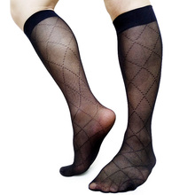 Transparent Sexy Business Formal Socks For Mens Gay Sexy Fetish Collection Male Stocking High Elastic Male Hose Black Plaid ulta thin sheer softy mens socks tight high transparent high stretch sexy gay stocking fetish collection socks black hose