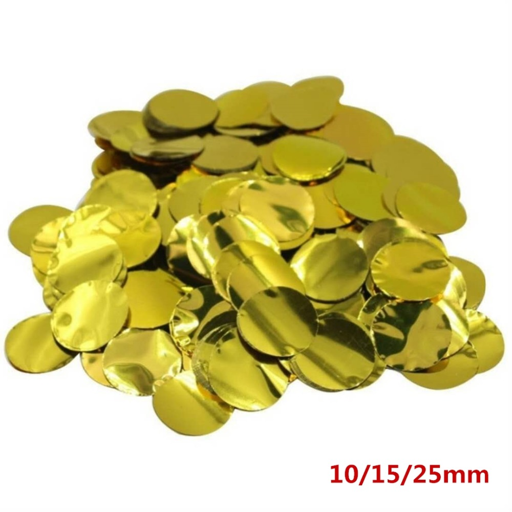25g 10/15/25mm Round Gold Foil Confetti for DIY Balloons Wedding Throwing Confetti Birthday Baby Shower Party Decoration