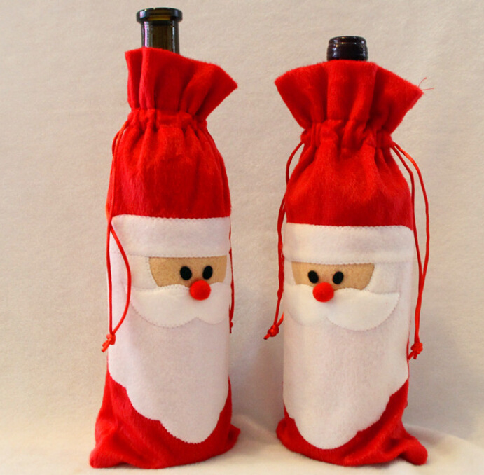 1pc Creative Red Santa Claus Gift Bags Christmas Red Wine Bottle Cover Dining Table Party XMAS Gift Decoration Supplies