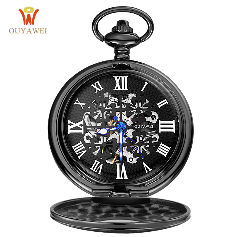 OUYAWEI Pocket Hand Wind Mechanical Watch Men Steampunk Vintage Pendant Watch Necklace Chain Antique Fob Watches Relogio bolso hot selling style star trek theme 3 colors pocket watch with necklace chain high quality fob watch