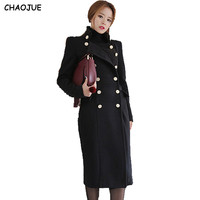 CHAOJUE NEW Ultra long paragraph wool overcoat female 2018 handsome military slim woolen long coats for women free shipping