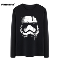 Flevans Brand Clothing Men Long Sleeves O Neck T Shirts Star Wars Stormtrooper Printed Male Top