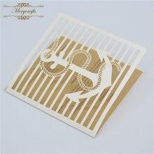 Pérolas negras MR111 artesanal decoração cartão do convite do casamento com projeto âncora