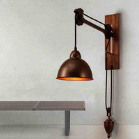 Vintage Wall Lamp Iron Pulley Spindle Wall Lights Coffee Shop Bar Wood Wall Sconces stairs Light Fixture Indoor Home Lighting