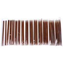 75Pcs 15Sizes 7.9in Smooth Carbonized Bamboo Double Pointed Knitting Needles Set Sweater Knitwear  Tools