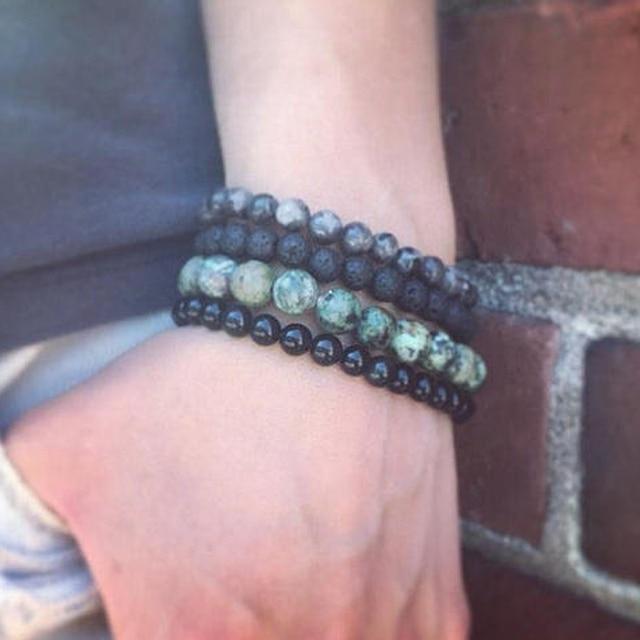 African T Urquoise Onyx Lava Stone Labradorite Bracelet Set Natural Stacking Bracelets