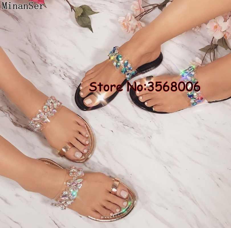 f8a6f8c0b08c0 Dropshipping crystal string bead clip toe slippers women Flats rome rhinestone  flip flops lady summer slippers