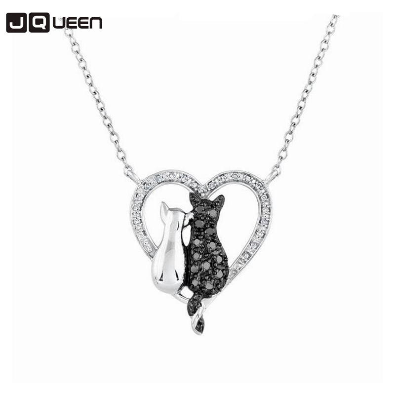New Lovely Cat Black White 2 Cat On Heart Crystal Pendant Necklace For Women Girl Best Friend Neck Jewelry