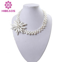 Elegant Handmade Kintted Pearl Necklace Jewelry New Weaved Flower Pearl Fancy Necklace Gift Jewelry FP050