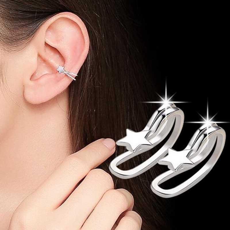OMHXZJ ขายส่งแฟชั่นผู้หญิง OL สาวใบ Pentagram ต่างหูโดยไม่ต้องเจาะ 925 เงินสเตอร์ลิงหูคลิป YS448
