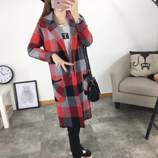 Mujeres Suéter Largo Cardigan 2016 Nuevo Otoño Invierno de la Tela Escocesa Impreso Bolsillos Cardigan de Punto Grueso Hembra Abrigo AZ420
