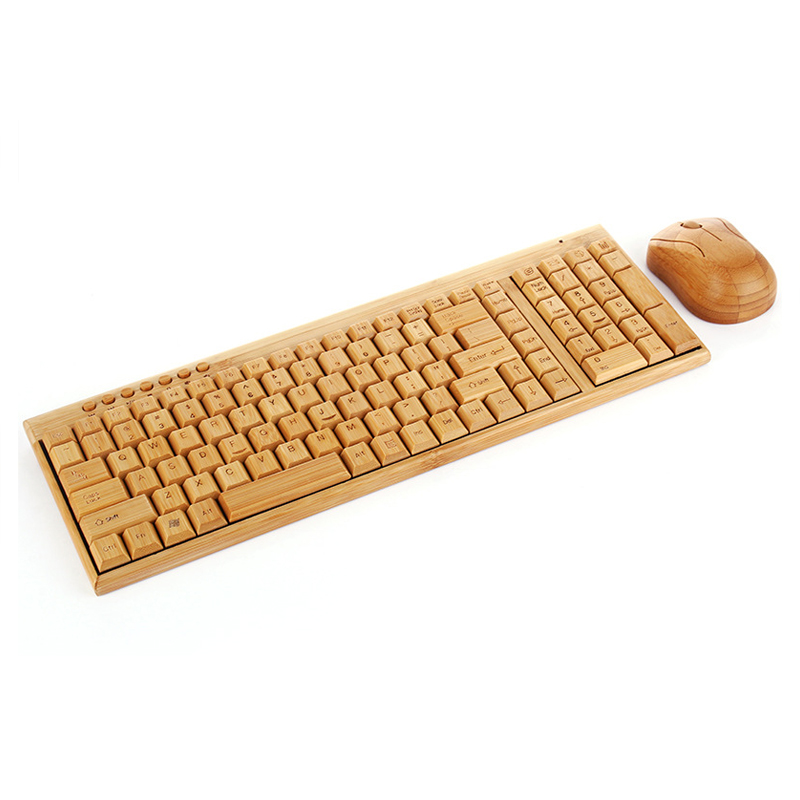 Handmade Bamboo PC Wireless Keyboard Mouse Combos For Home Office Desktop Laptop High quality ergonomic teclado inalambrico стоимость