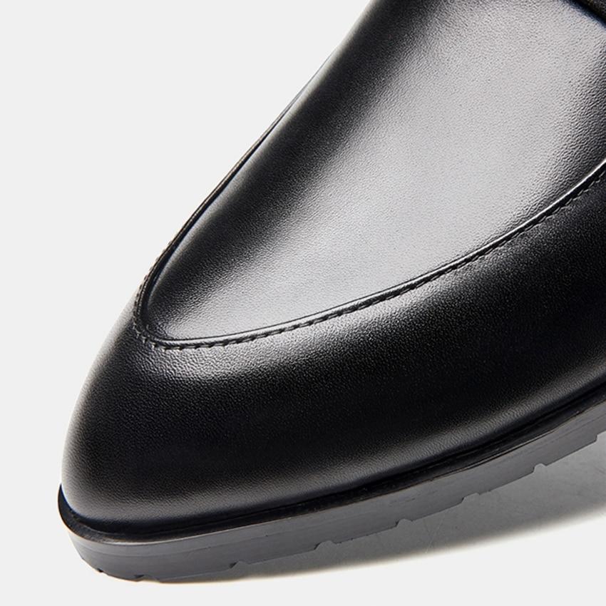 Cm Lacé Véritable Hommes Chaussures Homme Cuir Derby En Hqs329 Main Bout Formelle Mariage Noir Talons Nouveau De Classique 3 Robe Rond Partie q7ZtCC