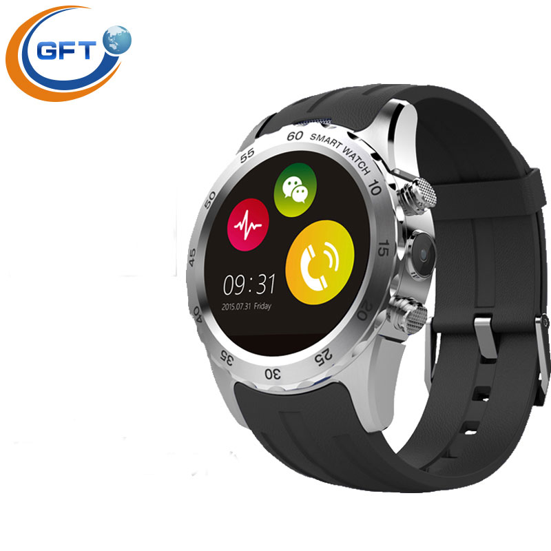 GFT KW08 GSM NFC Bluetooth font b SmartWatch b font Cellphone 1 22 IPS with Mic